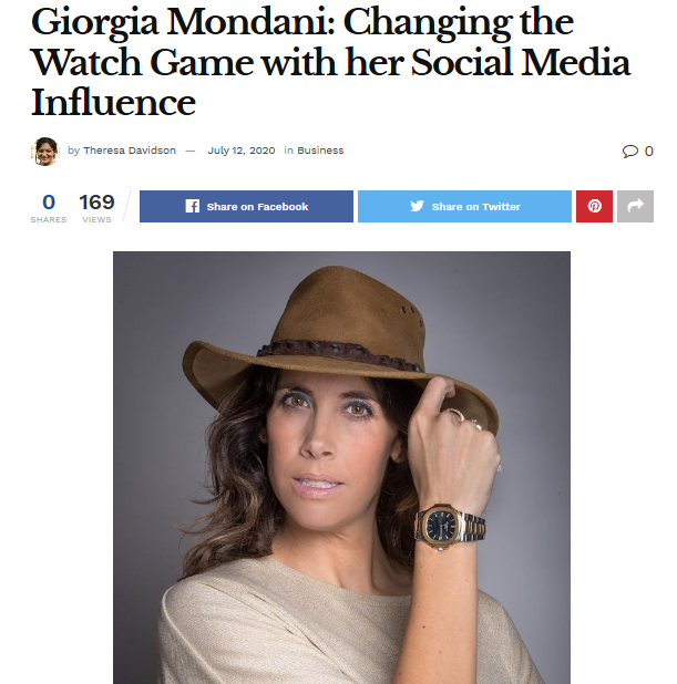 America Daily Post's Article | Giorgia Mondani: Changing the Watch Game with her Social Media Influence - MondaniWeb